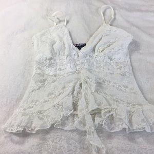 XOXO flirty sexy lace white top